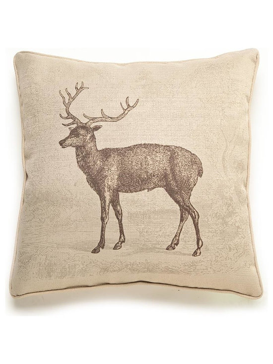 Lava - Deer Etching 18X18 Pillow (Indoor/Outdoor) - 100% polyester cover and fill.  Suitable for use indoors or out.  Made in USA.  Spot Clean only