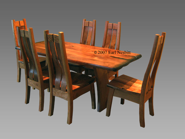 Mesquite Alder Dining Table With 6 Chairs Contemporary Dining Tables A