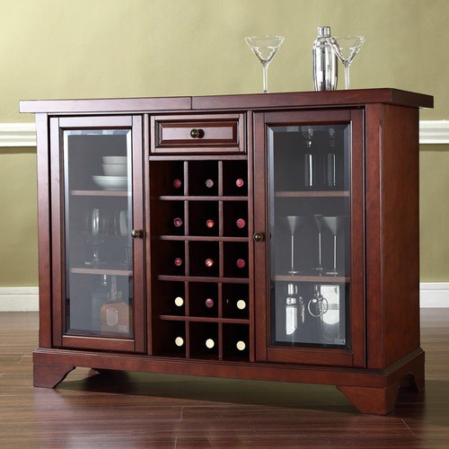LaFayette Sliding Top Bar Cabinet in Vintage Mahogany - Modern - Wine And Bar Cabinets - by Wayfair