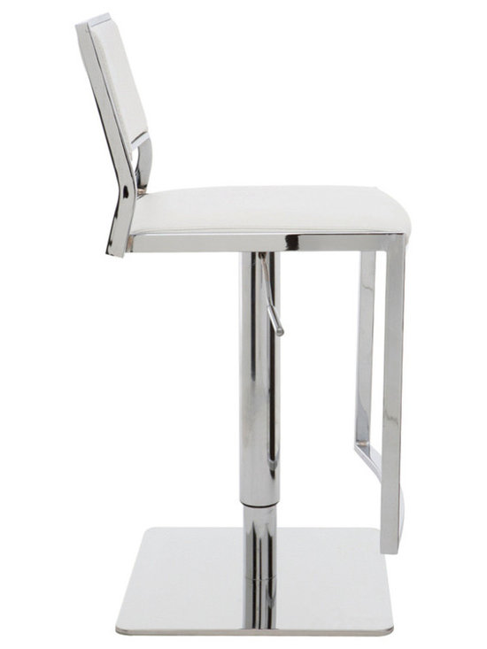 Nuevo Living - Aaron Adjustable Stool, White - Adjustable bar stools are a great flexible seating option in the modern home. You and your guests can change the height and swivel around for added comfort and ease of use. And the white upholstery will have you sitting in style.