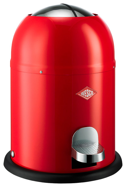 Wesco Single Master Waste Can, Red contemporary-trash-cans