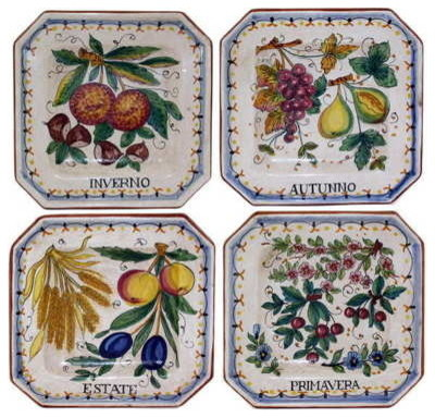 Majolica four season set of four wall plates 7x7 for 7x7 kitchen design