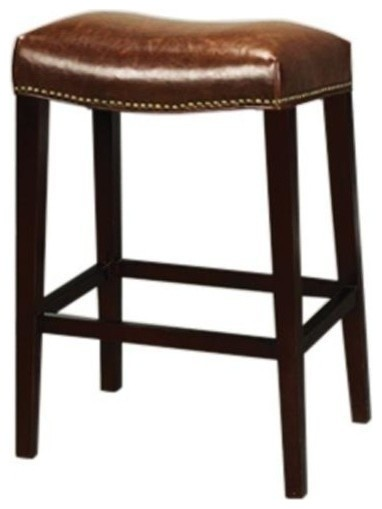 New Bar Stool Saddle Style Brown Leather Traditional