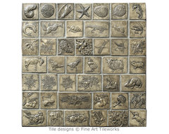 Hand pressed 2 deco tiles traditional kitchen tile