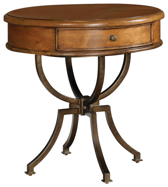 American Drew New River 1-Drawer Round Accent Table in Rustic Alder traditional-side-tables-and-end-tables