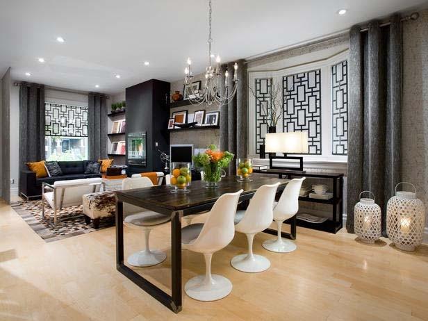 "Delia Shades' Custom Solar Shades in ""Frame Lattice"" Pattern contemporary-living-room"
