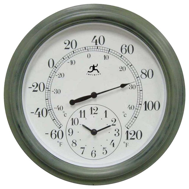 "Contemporary Combo Indoor-Outdoor 15 3/4"" Wide Wall Clock Thermometer contemporary-clocks"
