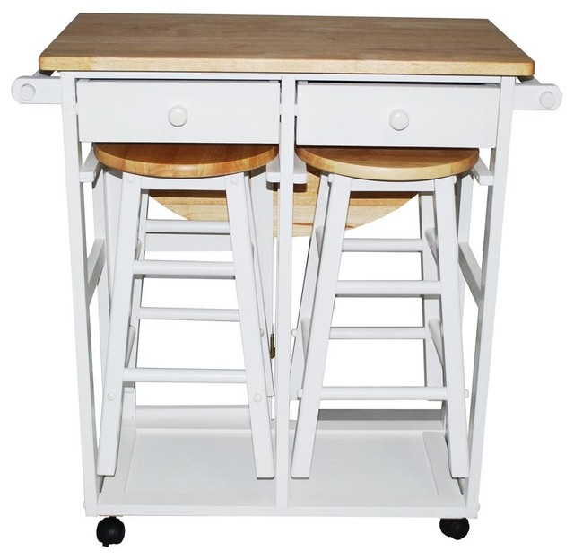 Breakfast Cart Table With 2 Stools White Contemporary kitchen islands