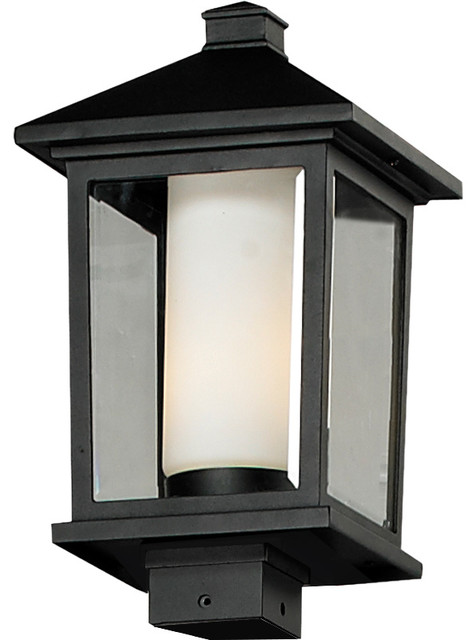 Mesa outdoor post light in black modern post lights for Contemporary outdoor post light fixtures