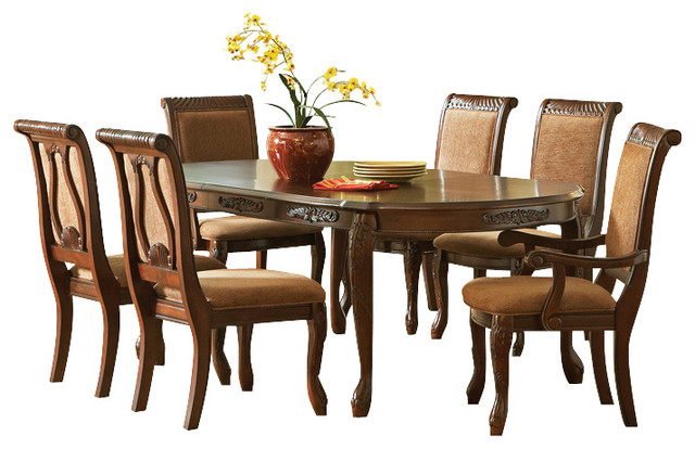 piece oval dining room set in dark oak traditional dining sets