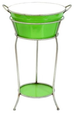 Aspire Retro Green Wine Cooler Bucket on Stand modern barware