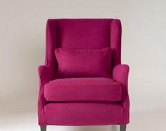 Stephenson Chair Slipcover, Fuchsia Jewel Tone Wool contemporary-living-room-chairs