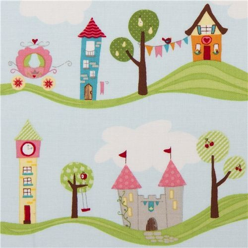 light blue fairy tale fabric castle carriage Riley Blake USA fabric