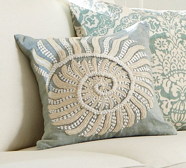 Pottery Barn Decorative Pillow Covers : Blue Nautilus Embroidered Pillow Cover - Beach Style - Decorative Pillows - sacramento - by ...