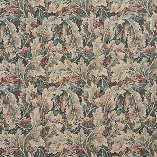 Burgundy Ivory And Green Floral Leaf Tapestry Upholstery