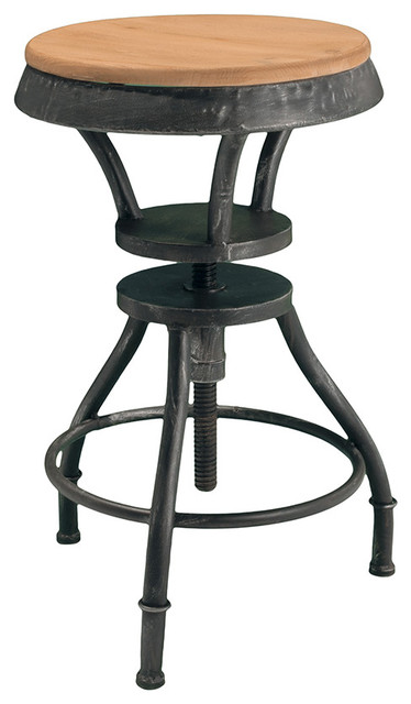 Houston industrial design adjustable height bar stool for Industrial design bar stools