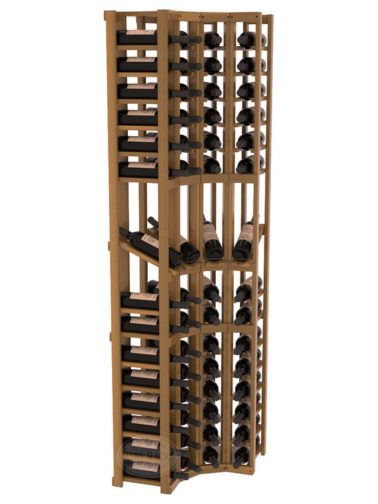 Wine Racks America® - 4 Column Display Cellar Corner in Redwood, Oak Stain + Satin Finish - Unique corner wine racks obtain maximal storage capacity with style. Display 4 coveted vintages without sacrificing proper wine storage. We back the quality of every rack with our lifetime warranty. Designed with emphasis on functionality, these corner racks fit seamlessly into our modular line of wine racks.