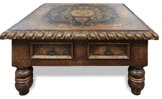 Tuscan Old World Coffee Table Toledo Fresco Crackled Traditional Coffee Tables By Lutina