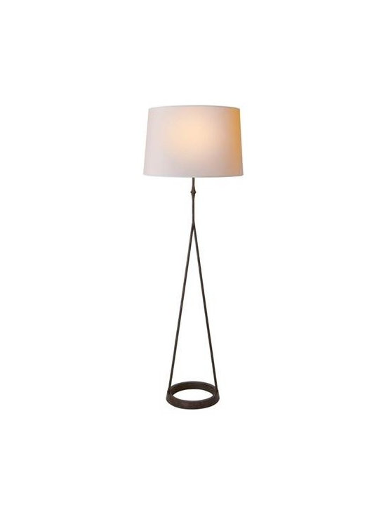 A Line Floor Lamp - Like an A-line dress this floor lamp will flatter any home. The modern yet elegant A-line base drops from a natural cream paper drum shade. Choose from Aged Gold Leaf or Aged Iron.