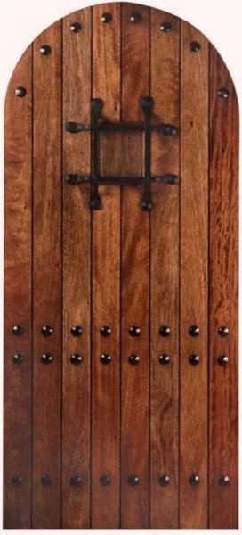 Mahogany Mega Rustic Door Arched with Jamb mediterranean-front-doors