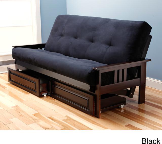 Andover Full Size Futon Sofa Bed Honey Oak Wood Frame