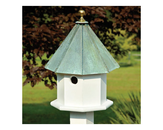 Grandin Road - Oct-Avian Bird House - Large 2-compartment, 8-sided birdhouse. Cypress wood siding painted white. Lift-off copper roof for easy cleaning. Mounting plate included. Transform any uninspired area of your landscape into a head-turning tableau by adding the beauty of our eight-sided, Oct-Avian Birdhouse. This large birdhouse, with its crisp cypress siding and gleaming copper roof, is striking from every angle. And its two compartments provide ample room when feathered-friends fly in. Just lift the roof for easy cleaning. Experience how having this attractive feature as part of your landscape or garden makes your own house look that much more inviting.  .  .  . . Made in USA.