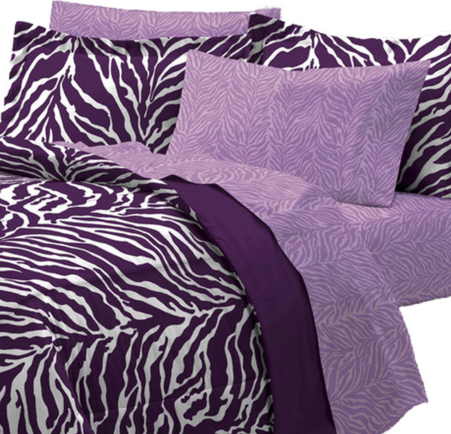 Purple zebra bedding set animal print bed full Zebra print bedding