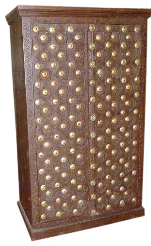 Brass Accents Carved Armoire asian-dressers-chests-and-bedroom-armoires