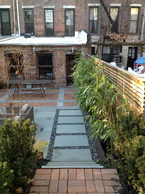 A Family Friendly Brownstone Garden modern-patio