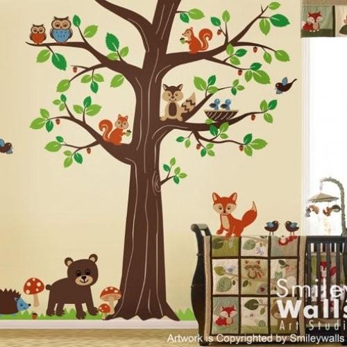 Woodland Forest Animal Friends Huge Tree Nursery Vinyl