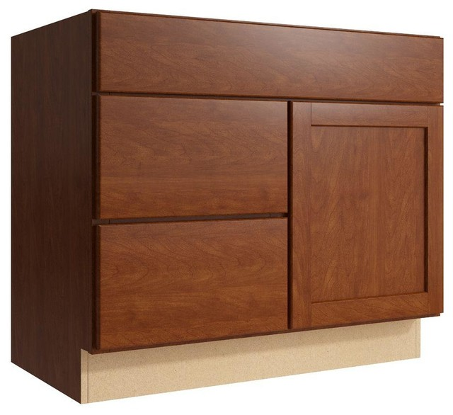 Cardell Cabinets Pallini 36 in. W x 31 in. H Vanity Cabinet Only in Nutmeg - Contemporary ...