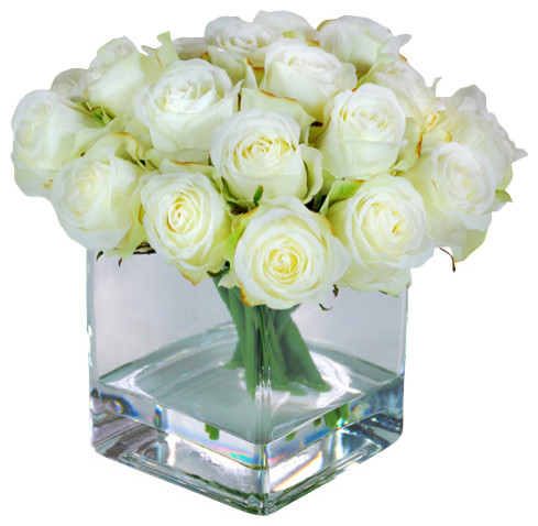 Rose Buds In Square Glass Vase Contemporary Artificial