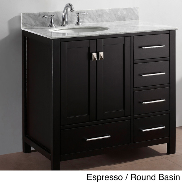 Virtu Usa Caroline Avenue 36 Inch Single Sink Bathroom Vanity Set Contemporary Bathroom