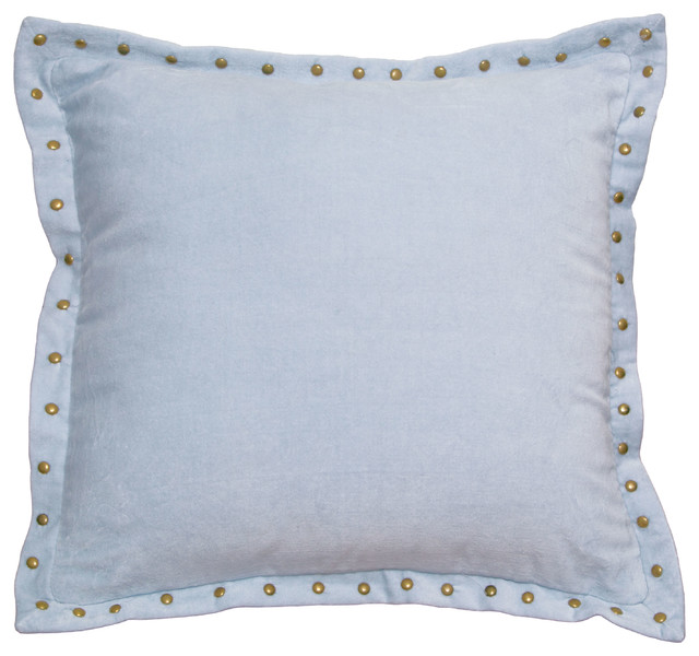 Light Blue Patterned Throw Pillow : Light Blue Studded Velvet Throw Pillow - Contemporary - Decorative Pillows - san francisco - by ...