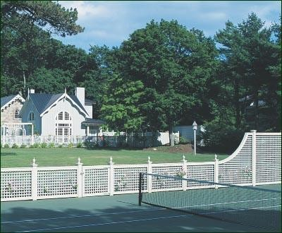 Formal Tennis Court modern-home-fencing-and-gates