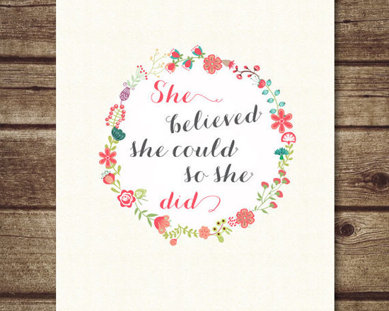 'She Believed She Could So She Did' Floral Printable by Just a Bird Printables -