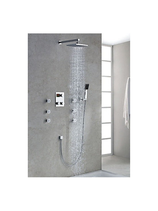 Shower Faucets - Chrome Finish Contemporary Thermostatic LED Digital Display Shower Faucet with 8 inch Square (Shower head & Hand shower)--FaucetSuperDeal.com