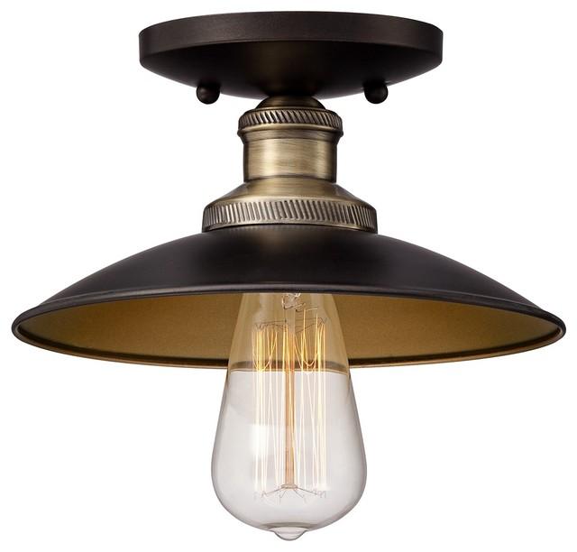 Industrial widefield 9 wide antique brass ceiling light for Brass kitchen light fixtures
