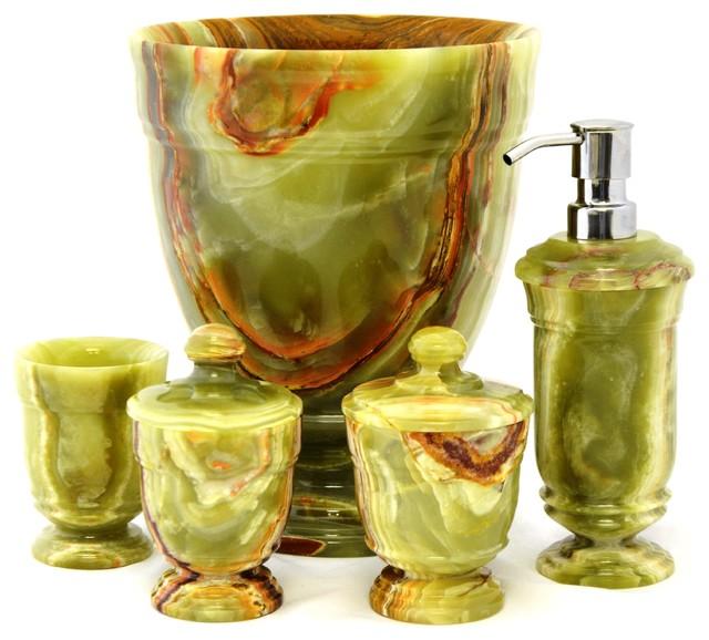 540cg 5 Classic Green Onyx Bathromm Accessories Set Traditional Bathroom Accessories