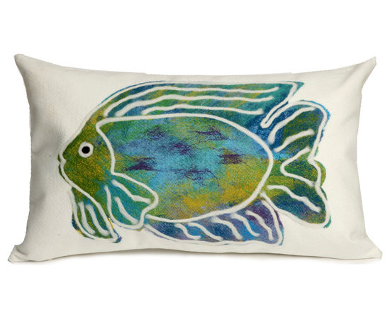 """Trans-Ocean Outdoor Pillows - Trans-Ocean Liora Manne Batik Fish Aqua - 12"""" x 20"""" - Designer Liora Manne's newest line of toss pillows are made using a unique, patented Lamontage process combining handmade artistry with high tech processing. The 100% polyester microfibers are intricately structured by hand and then mechanically interlocked by needle-punching to create non-woven textiles that resemble felt. The 100% polyester microfiber results in an extra-soft hand with unsurpassed durability."""