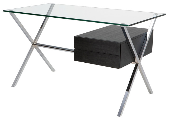 Xavier Desk in Chrome and Ash by Nuevo - HGGC150 modern-desks-and-hutches