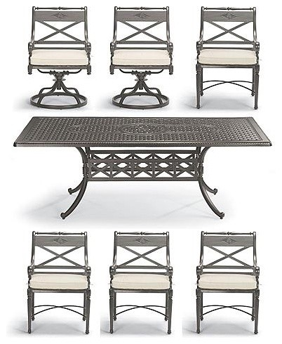 Carlisle 7-pc Dining Set with Cast-top Table in Slate Finish  (Cushions sold sep traditional outdoor tables