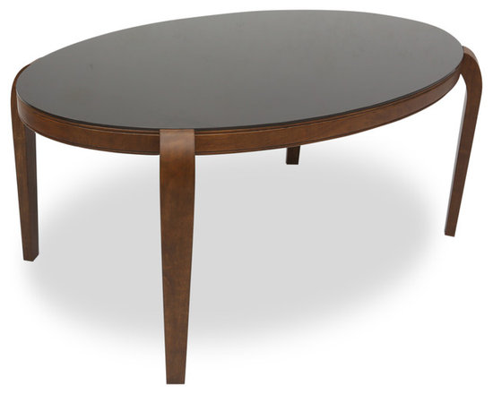 Bryght - Aldo Glass Dining Table - The Aldo glass dining table with its beautiful oval glass table top and smooth, solid wood curved legs is sure to be a glamorous addition to your dining room decor.
