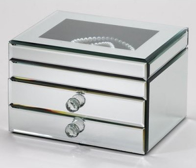 Fortuna Mirrored Jewelry Box - 9.25W x 7H in. - Modern - Home Decor ...