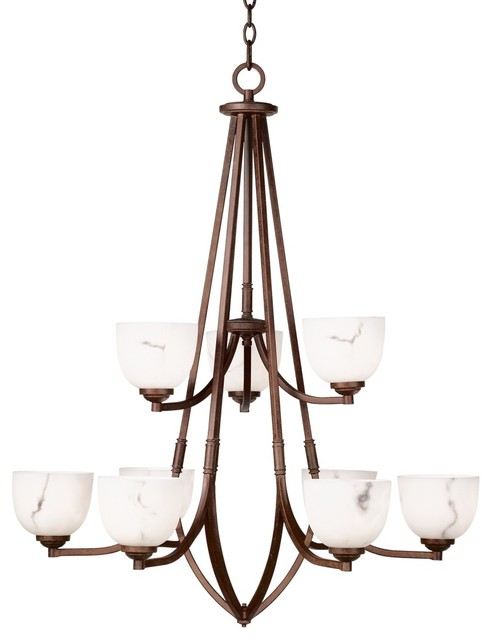 """Asian Calavera Collection 33"""" Wide Nine Light Chandelier contemporary-chandeliers"""