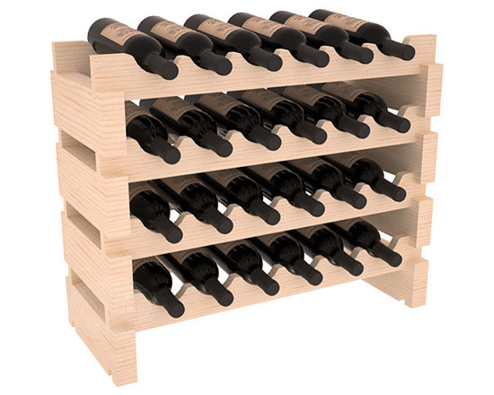 Wine Racks America - 24 Bottle Mini Scalloped Wine Rack in Pine - Stack four 6 bottle racks with pressure-fit joints for proper storage of 24 wine bottles. This rack requires no hardware for assembly and is ready to use as soon as it arrives. Makes the perfect gift and stores wine on any flat surface.