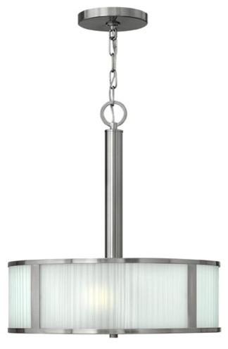 Midtown Brushed Nickel Three-Light Drum Pendant modern-pendant-lighting