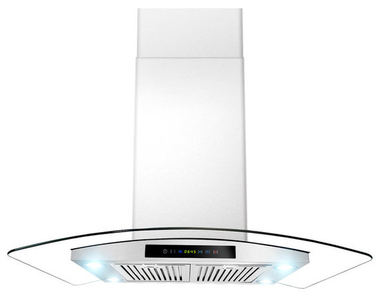 """ADKY - AKDY AG-ZAIS3BR Euro Stainless Steel Island Mount Range Hood, 36"""" - Featuring a powerful blower that delivers fan speeds up to 870 CFM, the AKDY ZAIS3BR 36 in. Convertible Range Hood in Stainless Steel maintains noise levels as low as 2 sones or less at normal speed, making it easy to maintain a peaceful kitchen atmosphere with less smoke. The hood's touch screen controls make it easy to select variable fan speeds to tackle a wide variety of venting jobs."""