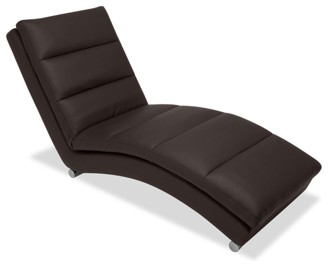 Guildford brown chaise longue modern indoor chaise for Brown chaise longue