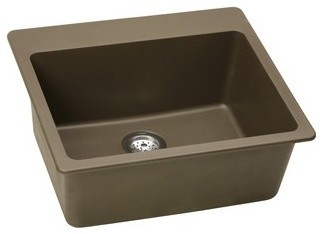 Elkay ELG2522MC0 Gourmet e-Granite Mocha Self-Rimming Single Bowl Kitchen Sink w traditional-kitchen-sinks